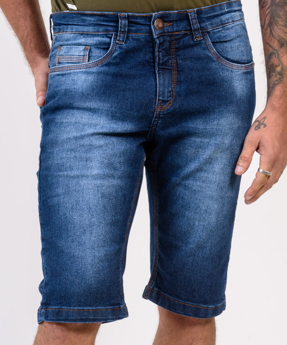 Bermuda-Masculina-Jeans-Used-Frontal-